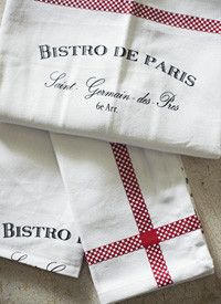 French Bistro Kitchen Towels, Set of Three - mediterranean - dishtowels - sadieolive.com