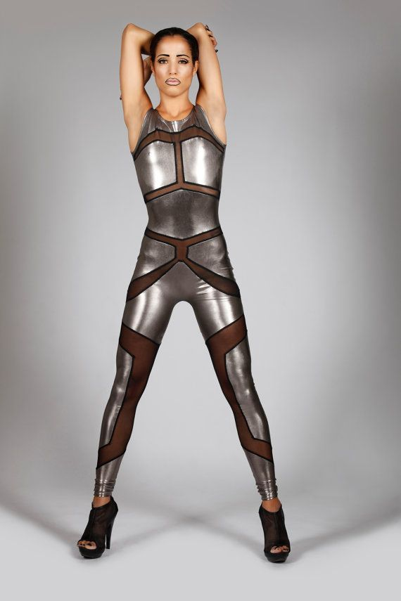 Robot Catsuit Metallic Silver Spandex & Mesh by LenaQuistDesign