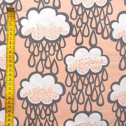Sadepilvet-luomujersey, persikka / Rain clouds organic single jersey in peach / Käpynen