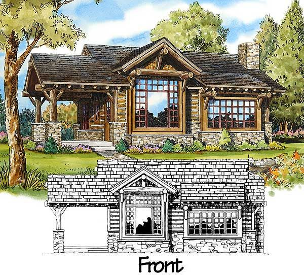 Weekend Mountain Escape - 11529KN   Cottage, Log, Mountain, Vacation, Narrow Lot, Photo Gallery, 1st Floor Master Suite, CAD Available, PDF   Architectural Designs