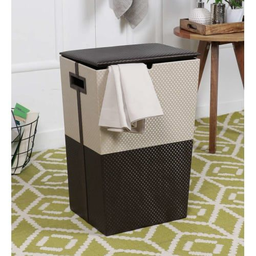 Do laundry like a Pro. Put dirty clothes in this beautiful laundry basket from www.kraftsmen.in and forget about all the mess.    Price - ₹3495  #Kraftsmen #laundrybasket #basket #laundystorage #homedecor #kraftsmendesign #neat #modernhomes #homeessentials