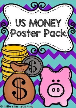 These US money posters are going to be a fantastic addition to your unit on Money. Print, laminate, and display in your maths learning center. This US Money pack includes the following coins: penny, nickel, dime, quarter and half dollar, and the following bills: one, ten and five.