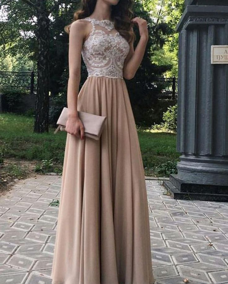 A-Line Beaded Lace Chiffon Long Prom Dresses Formal Evening Dresses on Storenvy