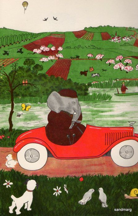 Vintage 1960s The Story of Babar The Little Elephant Babar Drives the Car Jean…