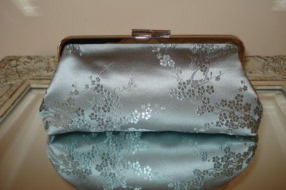 Silver Clutch Bag, Silk Brocade Clutch,Handmade In Ireland, Bridesmaids Clutch, Evening Handmade Bag, Silver Purse, Silver Wedding Clutch