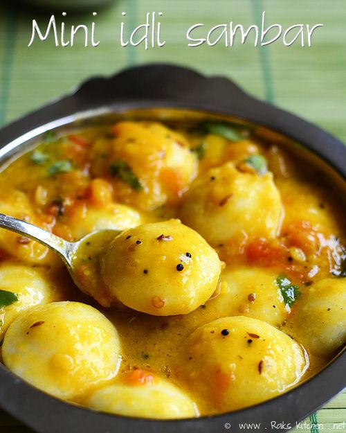 Mini Idli with sambar topped with ghee!
