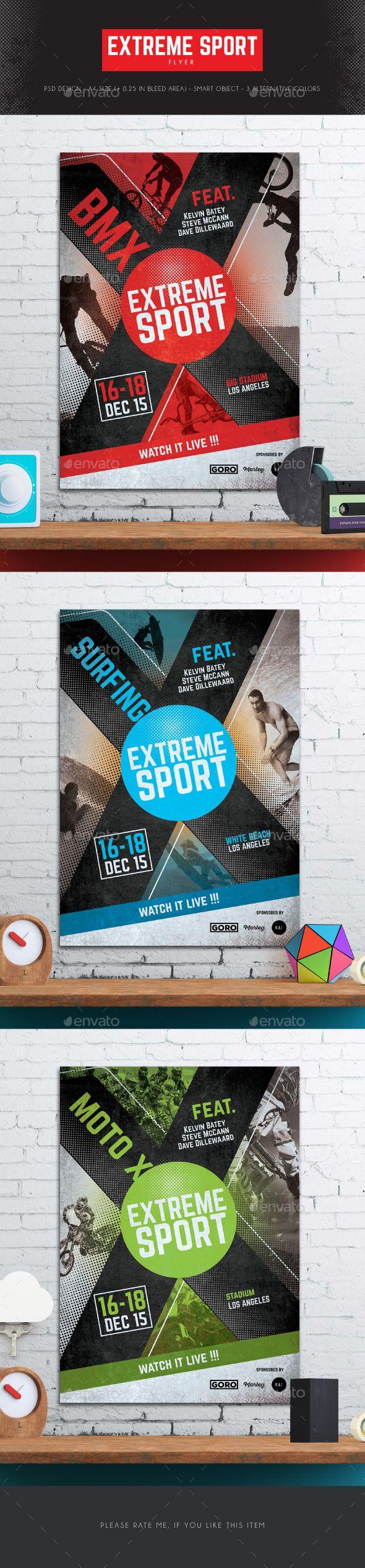 Extreme Sport Flyer Template PSD #design Download: http://graphicriver.net/item/extreme-sport-flyer/12866754?ref=ksioks