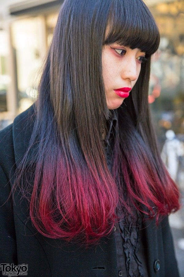 Black & Red Dip Dye Hair | Hair Inspirations | Pinterest ...