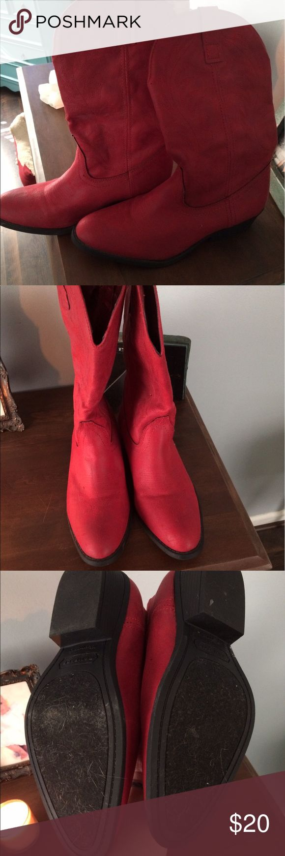Red cowboy boots 10 Red cowboy boots. Size 10. Wore once. Runs small rampage is the brand Shoes Heeled Boots