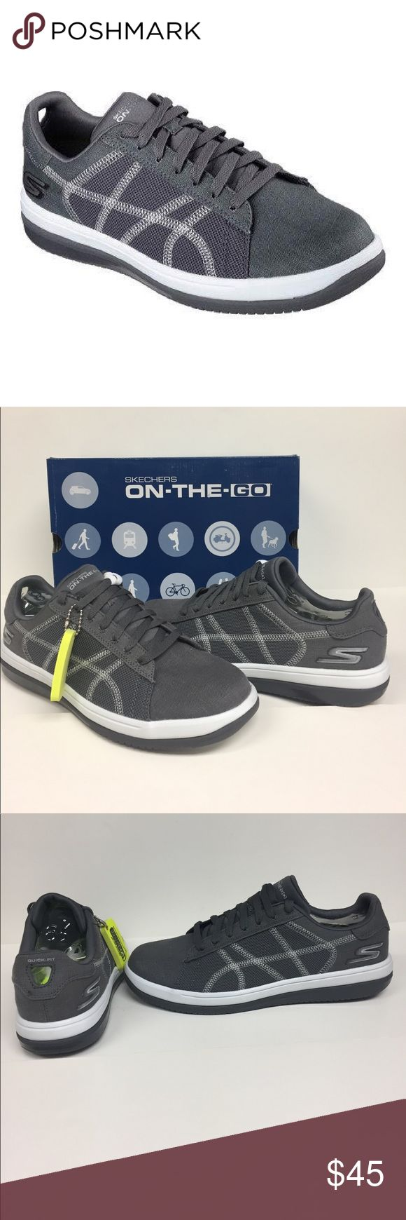 Skechers men's on the Go Refined Sneakers NIB Skecher Go Run Refine is a well cushioned lightweight trainer perfect for a variety of workouts in and out of the gym. Cushioned midsole in a breathable mesh upper offer an incredibly responsive work out shoe. Style 53728. Charcoal color Skechers Shoes Athletic Shoes