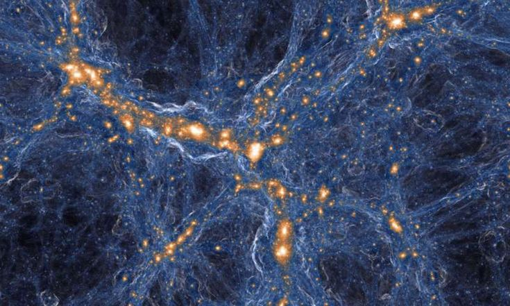 Visualization of the intensity of shock waves in the cosmic gas (blue) around collapsed dark matter structures (orange/white). Similar to a sonic boom, the gas in these shock waves is accelerated with a jolt when impacting on the cosmic filaments and galaxies. Credit: IllustrisTNG collaboration