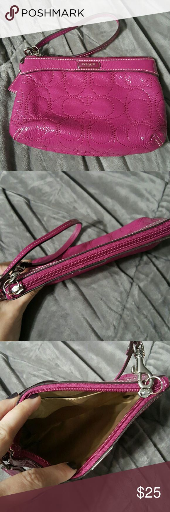 Coach wristlet Small magenta leather Coach wristlet. Design has signature C but all leather.  Never used,  Zips closed Coach Bags Clutches & Wristlets