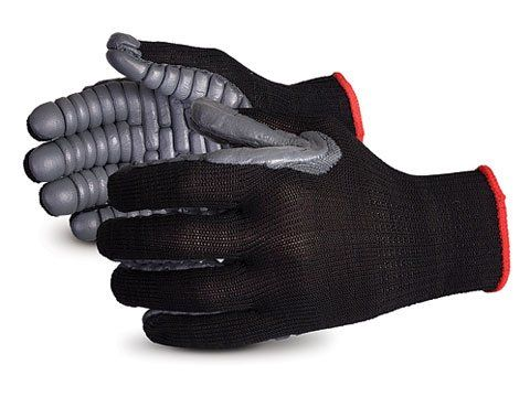 Superior nylon vibrastop anti vibration full finger glove. These gloves are padded with a layer of vibration dampening polymer. Specially compounded, formed chloroprene coated, seamless lined gloves. Good for protection from repetitive impact and work with pneumatic vibrating tools. Ergonomic...
