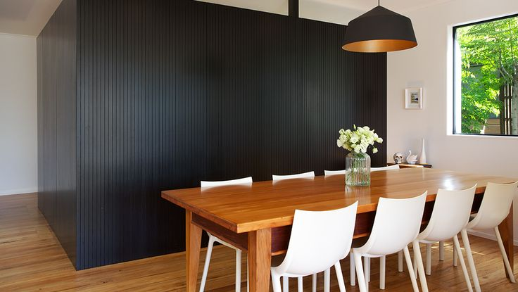Interior black to seperate the white walls, with a touch of warm wood to lighten up the room. Perfect!!