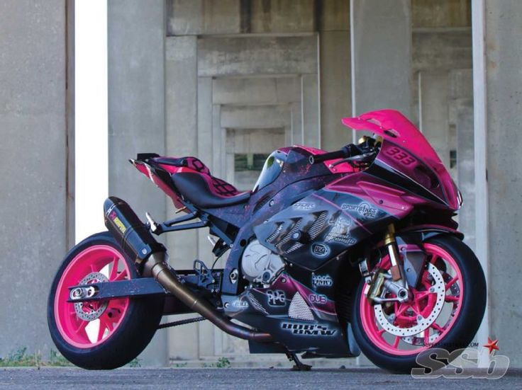 2010 Bmw S1000rr. Hot pink BMW motorcycle. Check out that seat, LOVE the pink w/ black corset style seat.leanda le