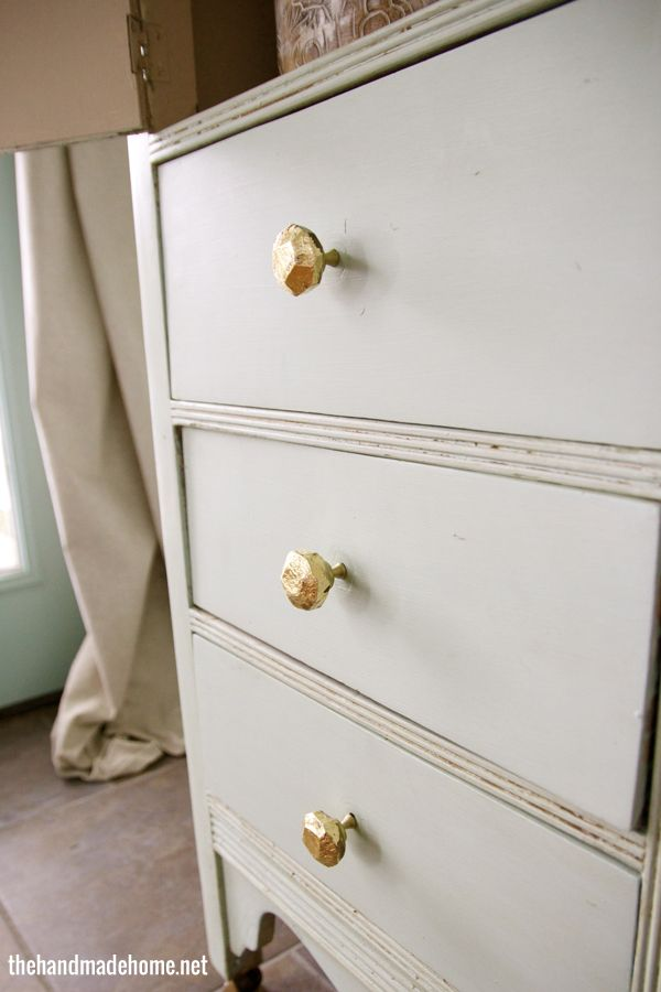 DIY Gold Leaf Knobs.
