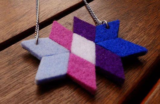 Geometric rhombus felt necklace  Star wool felt by LayonStore, €14.00
