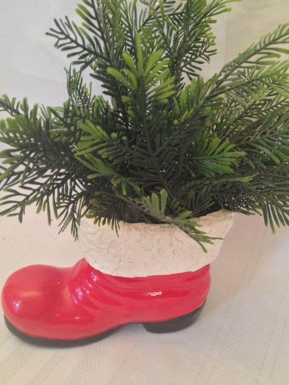 Vintage Ceramic Santa Boot with Greenery by ZassysTreasures, $16.00