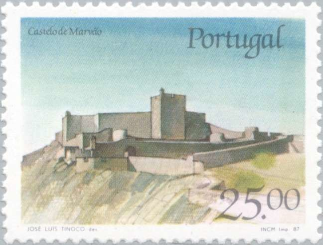 Sello: Castle Marvão (Portugal) (Castles and Coat of arms of Portugal (6th group)) Mi:PT 1733,Sn:PT 1693,Afi:PT 1817