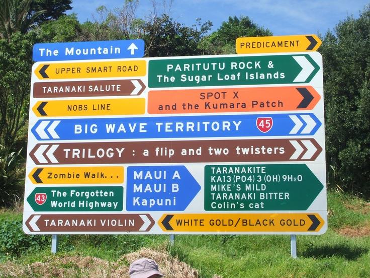 Sign at Port Taranaki (at the beginning of the coastal walkway). Who wouldn't want to go here?