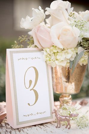Giracci Vineyards Wedding Reception Guest Table Number in Gold and a Hint of Blush PInk, rose gold wedding table decor