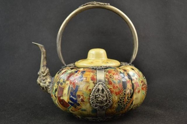 collectible decor handmade porcelain drawing dowager armor miao silver teapot * Click on the image for additional details. #HomeDecor