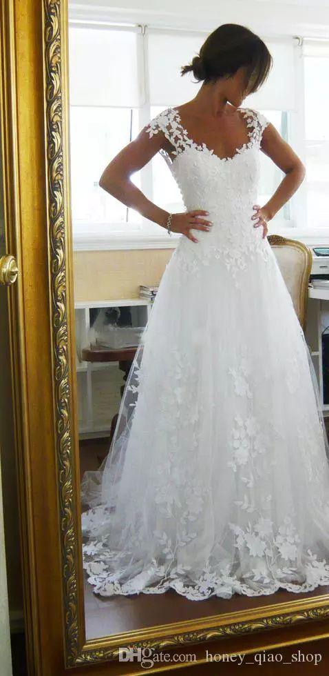 Fabulous  Vintage Wedding Dresses Sheer A Line Cheap Bridal Gowns For Garden Beach High Quality Lace