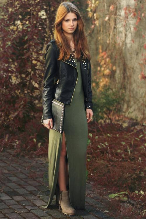Striped maxi dress with green vest