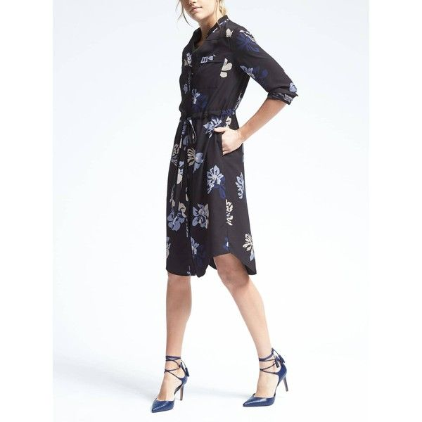 Banana Republic Womens Long Sleeve Tie Waist Floral Shirt Dress ($109) ❤ liked on Polyvore featuring dresses, lavender, petite, floral dresses, petite shirt dress, white shirt dresses, long sleeve floral dress and white floral dress