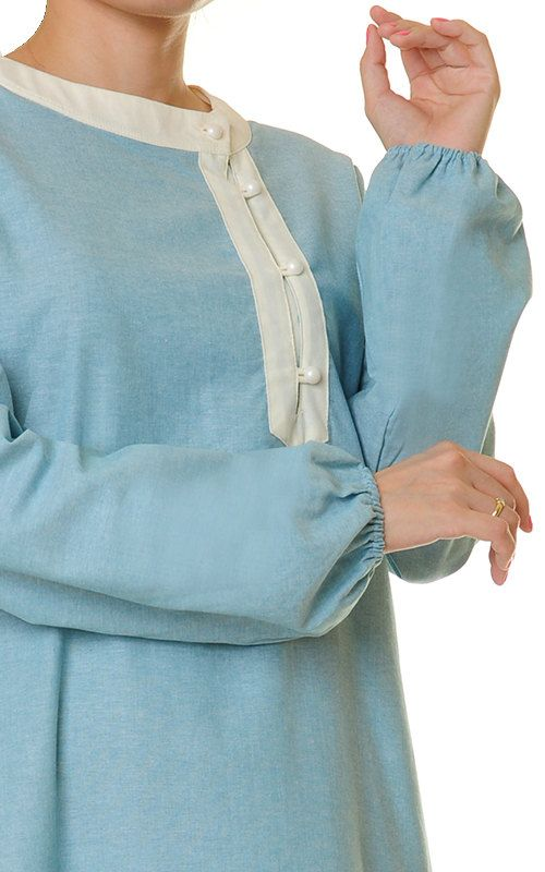 Blue Linen Dress  Blue Abaya Maxi Dress  Maxi Dress Long