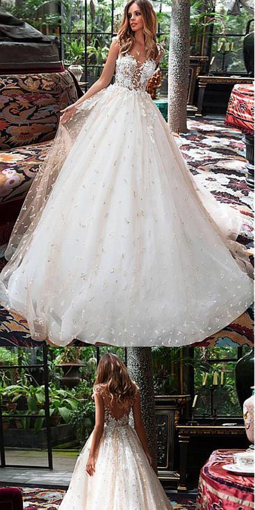 e093cdb08c Attractive Tulle Jewel A-line V-Back Long Wedding Dress With Lace Appliques  by Hiprom