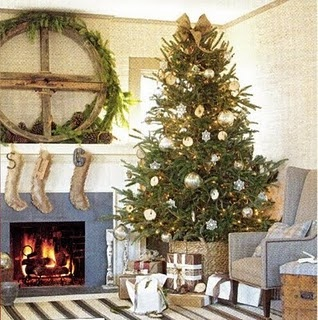 rustic tree & burlap stockings # cottage living # matters of style