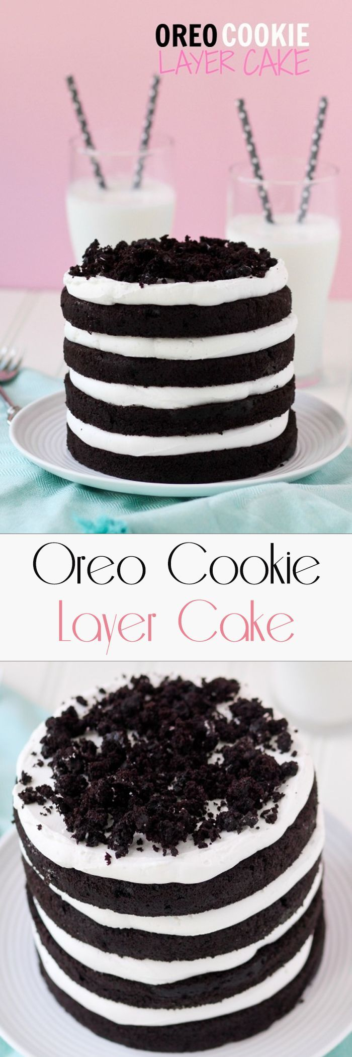 OREO COOKIE LAYER CAKE like biting into layers of a giant soft Oreo! The chocolate cake is full of Oreo crumbs and the frosting is actually OREO FILLING. This is too good to be true -- an Oreo lover's dream cake.