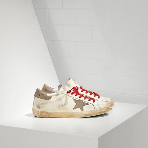 2016 Nouvelle Soldes Golden Goose Super Star Chaussures In Leather With Suede Star Homme Marron Rouge Pas Cher En Ligne