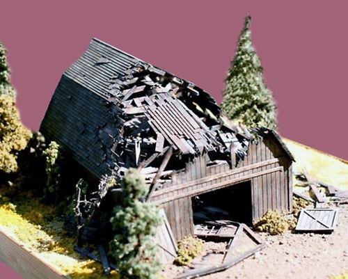 Fallen Barn HO Model Railroad Structure Wood Laser Kit BT649 | eBay