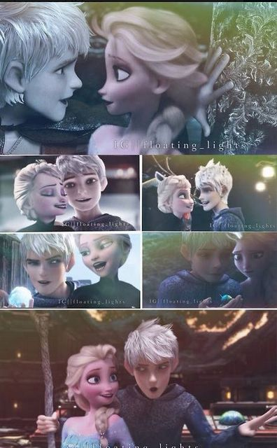 Elsa & Jack Frost. <<< Elsa's face in the snowball sceen and Jack's face in the last though!