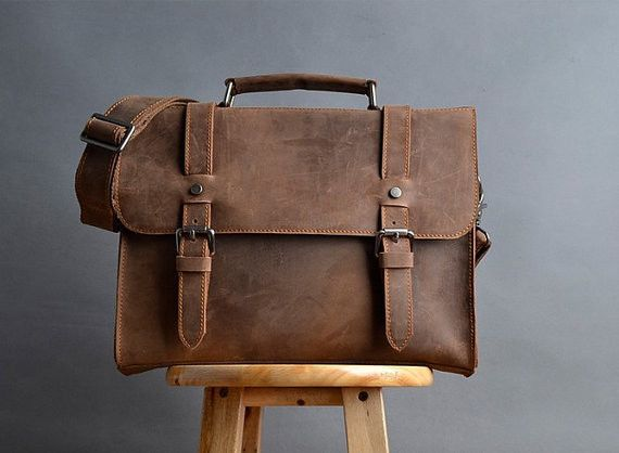 Brown #Leather #Messenger Bag - Slim Vintage Notebook
