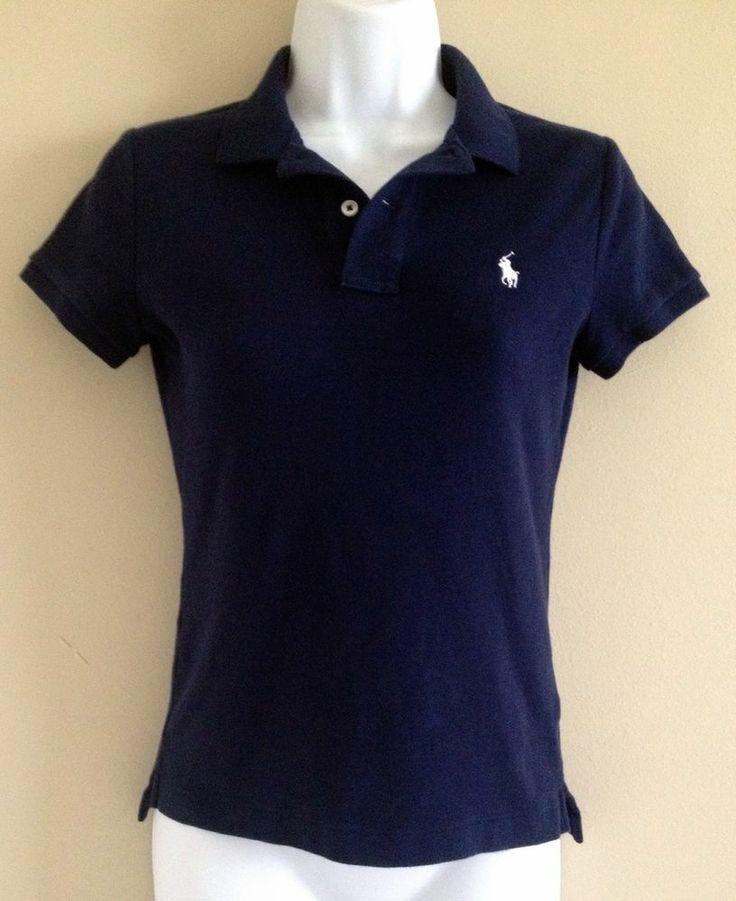 Womens Ralph Lauren Polo Shirt Size Small Slim Fit Navy