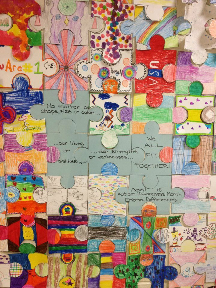 "Autism Awareness Puzzle. Get a big floor puzzle and have each student decorate a piece that ""describes"" them. Make several just in various places just a plain autism awareness color."