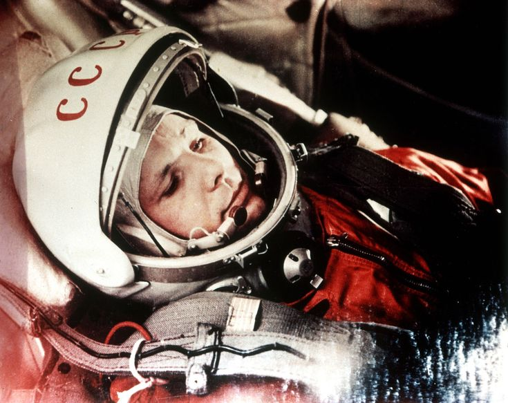 April 12, 1961: Soviet cosmonaut Yuri Gagarin in the capsule of Vostok 1, moments before he became the first human in space.