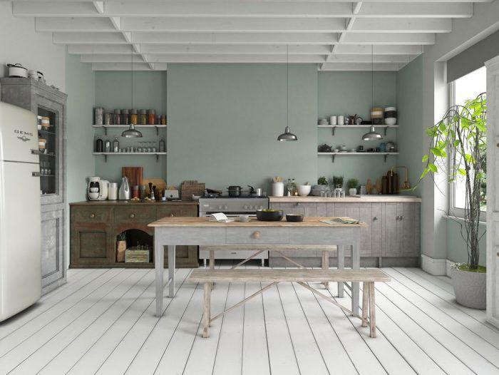 Une Touche De Deco Vert Sauge Dans La Maison Avec Images Salle A Manger Verte Deco Vert D Eau Cuisine Verte