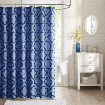 Home Essence Apartment Ashley 100 Percent Microfiber Printed Shower Curtain, Blue