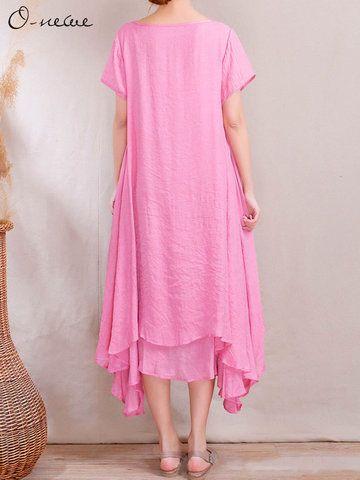 O-Newe Loose Women Ethnic Style Fake Two-piece High Low Maxi Dress