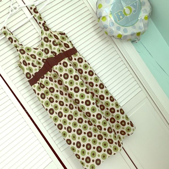 Green & Brown Geometric Dot Maternity Casual Dress Worn and washed once. Great condition. Make an offer! Motherhood Maternity Dresses
