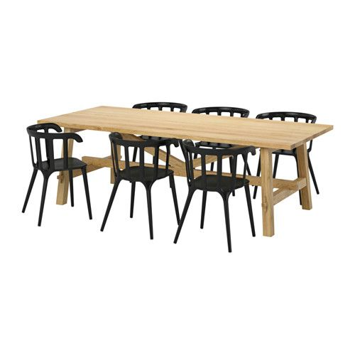 MÖCKELBY / IKEA PS 2012 Table and 6 chairs, oak, black - IKEA