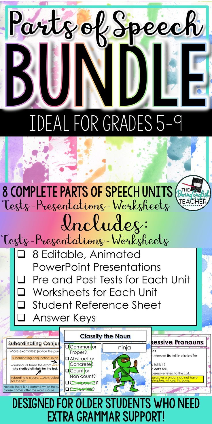 Teaching And Reviewing Grammar And The Parts Of Speech Is Easy With This Bundle Designed For Older Studen Parts Of Speech Teaching Grammar Grammar Instruction [ 1472 x 736 Pixel ]