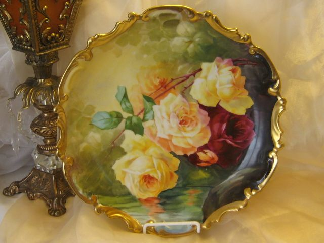 """Vintage Limoges French Antique Roses 13 1/4"""" PLAQUE Hand Painted Victorian Floral Art Charger c1900 China Painting Artist Signed C..."""