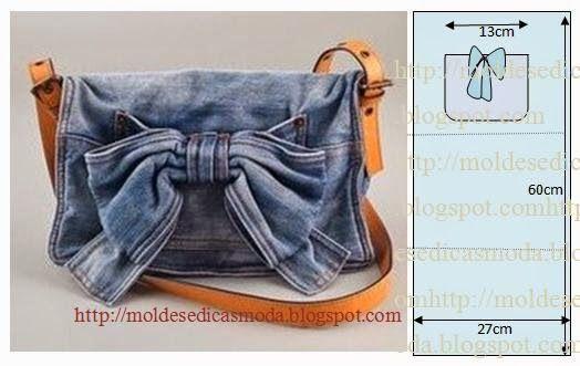 COMO CORTAR SACO A figura mostra como cortar o saco de forma simples. Tem a particularidade de ser concebido reciclando calça jeans. O conceito de reciclag