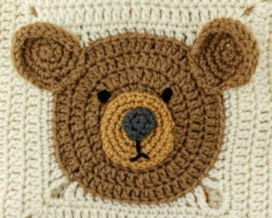 Teddy Bear Square Free Crochet Pattern...also includes a Lion and a tiger square ...free from Red Heart...Lions and Tigers and Bears Blanket