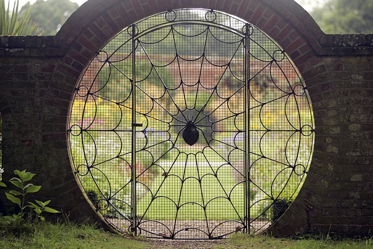 Hoveton Hall Gardens - liveforgardeningSecret Gardens, Spider Webs, Gothic Gardens, Spiderweb, Gardens Gates, Gardens Doors, Wrought Iron, Entrance, Spiders Web